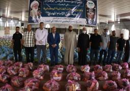 مكتب المرجع اليعقوبي في البصرة يوزع 2500 سلة غذائية للفقراء والمتعففين