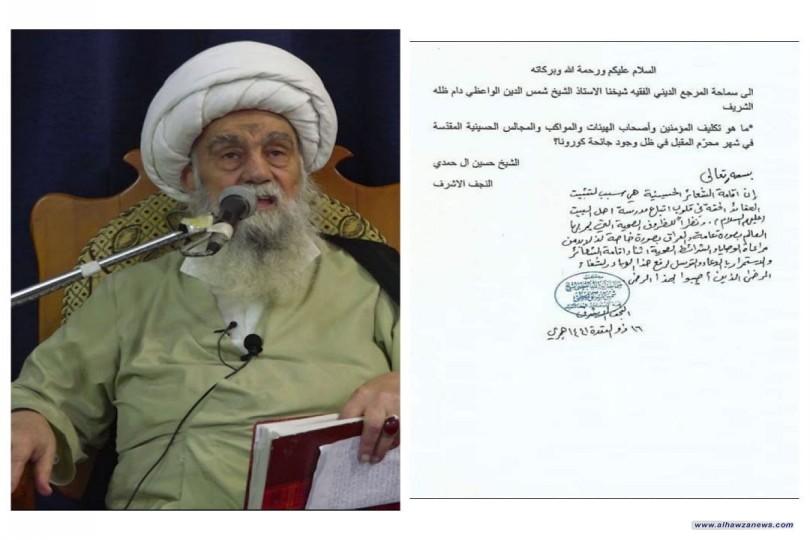 المرجع الواعظي: الشعائر الحسينية تثبت العقائد الحقة في قلوب أتباع أهل البيت(ع)