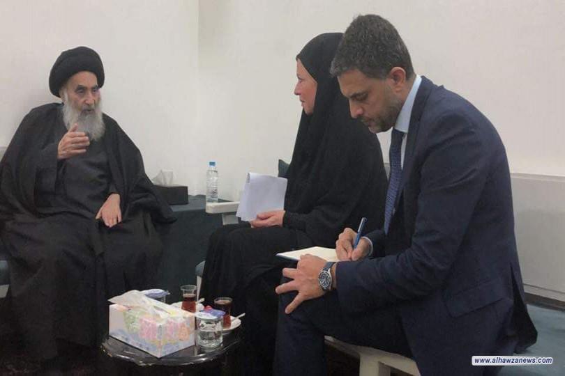 لقاء سماحة المرجع السيد السيستاني (دام ظلّه) مع الممثّلة الخاصّة للأمين العام للأمم المتحدة في العراق.